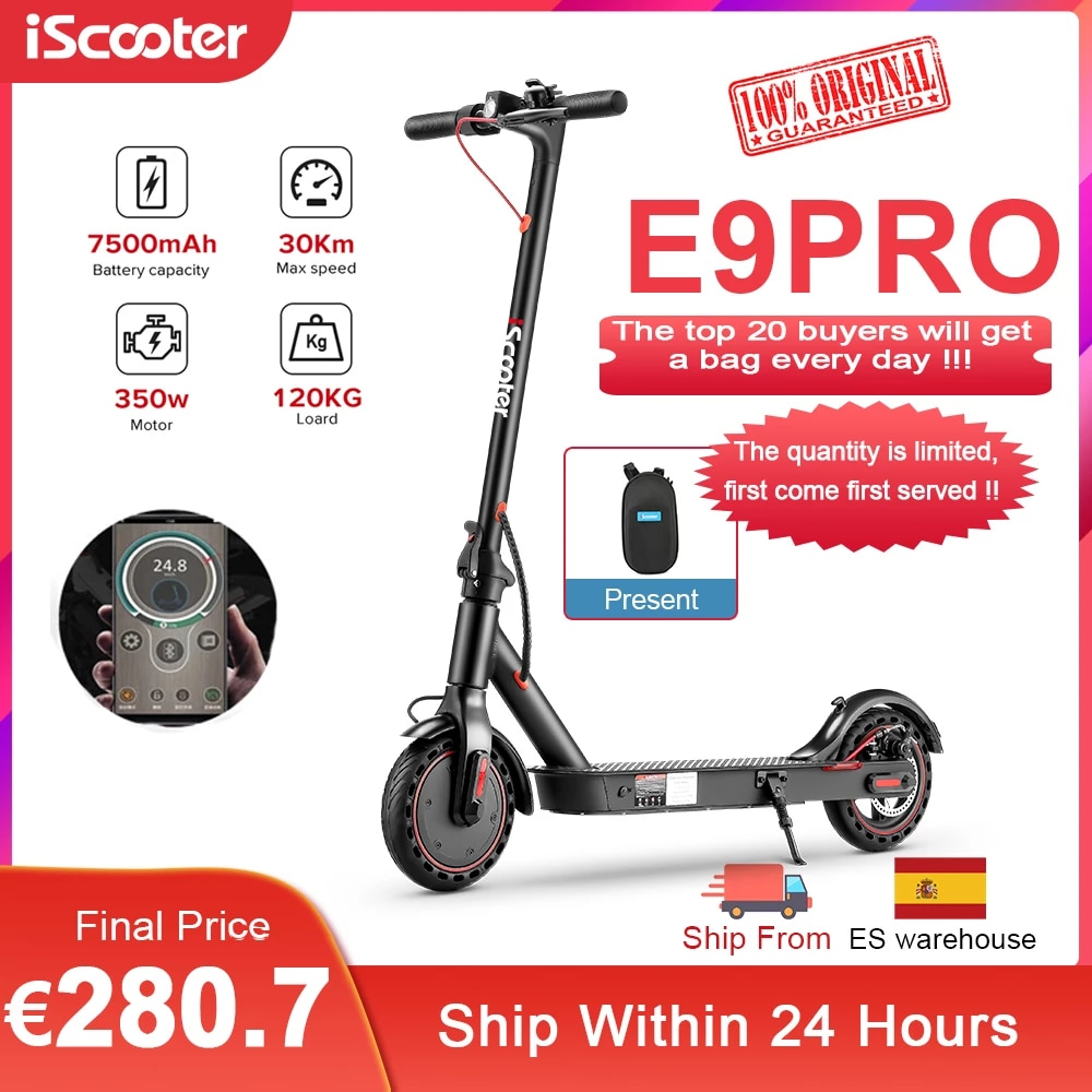 iScooter Patinete Electrico Smart Folding Kick Scooter Electric Adult Electric Skateboard 350W LED Light Trotinette Electric