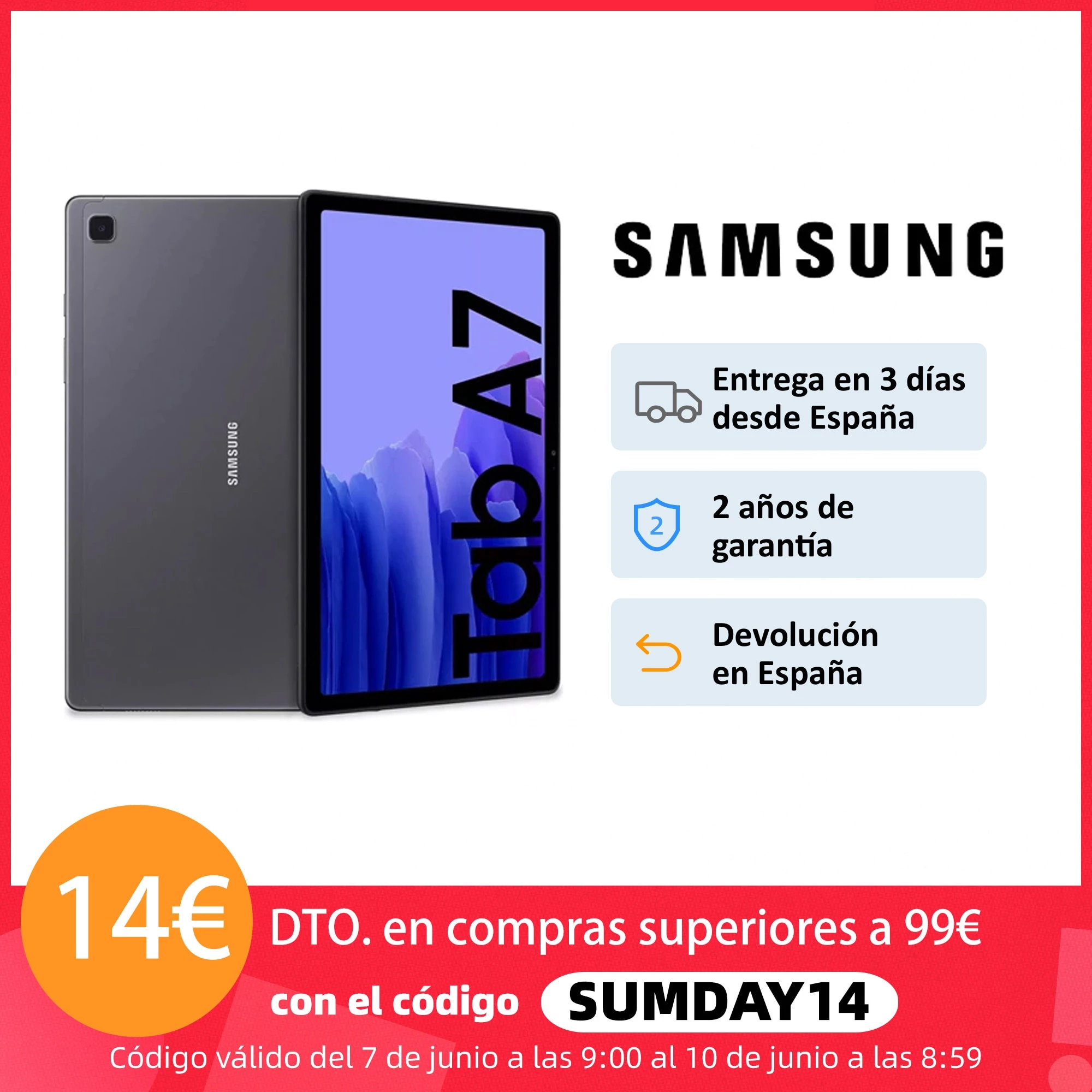Tablet SAMSUNG Galaxy Tab A7 WiFi/4G TFT 10.4 «WUXGA +, 3GB + 32/64GB (expandable with MicroSD), 7040mAh, 4 speakers»