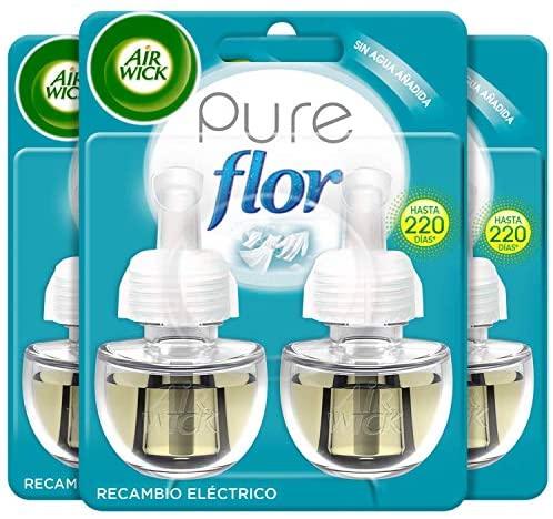 Air Wick Eléctrico – Recambios de ambientador automático eléctrico, esencia para casa con aroma a Flor Ropa Limpia – 83 g – Pack de 6
