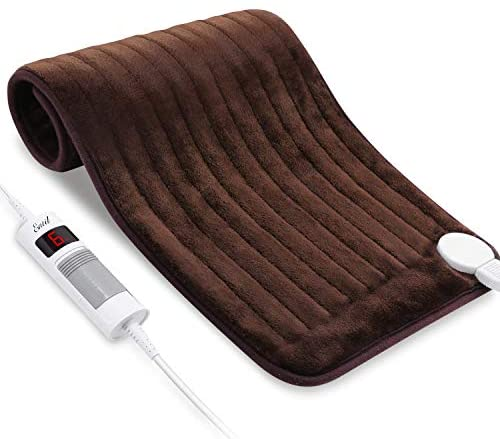 Almohadilla térmica eléctrica para cuello y hombros 30 x 60 cm con 6 niveles de calentamiento ajustables y apagado automático de 90 minutos, almohadilla térmica con calentamiento rápido