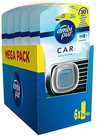 Ambi Pur Car Ambientador Coche, Difusor (6 x 2ml), Elimina y Previene los Malos Olores, Fragancia Brisa Marina, Mega Pack