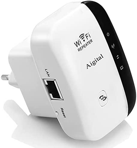 Amplificador WiFi Repetidor Extensor de Red Punto de Acceso 2.4GHz IEEE802.11 B/G/N Wireless Extender con WPS Button Velocidad de hasta 300Mbps, Puerto LAN, Compatibilidad Universal