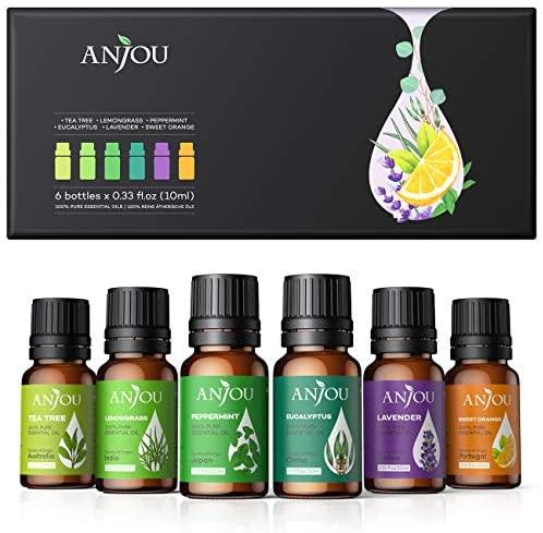 Anjou Aceites Esenciales 6 * 10ml(Lavanda, Hierba de Limón, Menta, Árbol de té, etc.). Aceite aromático 100% puro natural para Difusor, Humidificador, Masaje, Cuidado de la Piel y del Cabello