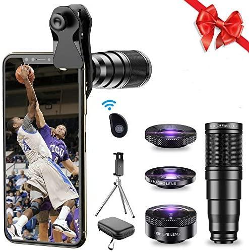 Apexel Kit de lente de cámara de teléfono, lente teleobjetivo 22X, lente ojo de pez, 205°, gran angular HD 120° y lente macro 4 en 1, funciona con iPhone 11, 10, 8, 7, 6 6s Plus X XS XR Samsung