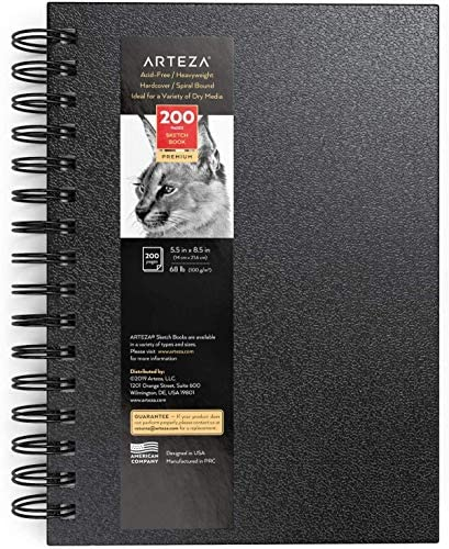 """Arteza Cuaderno de dibujo, 5.5×8.5"""" (14 x 21,6 cm), bloc de dibujo, 100 hojas, papel grueso 100 GSM, tapa dura color negro, espiral, para lápices de colores y grafito, carbón, bolígrafo y medios secos"""