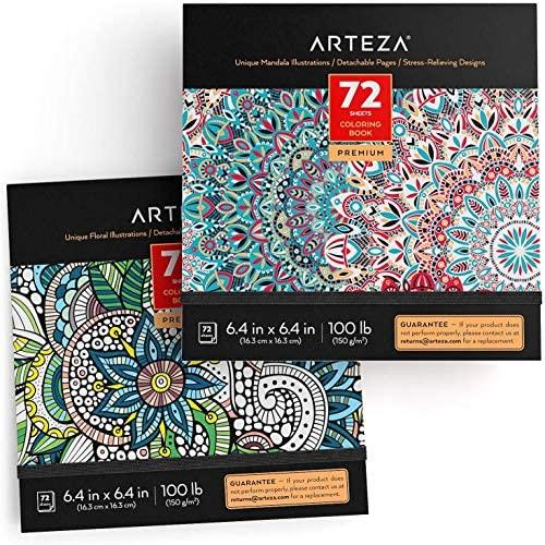 Arteza Libros de colorear para adultos con diseños florales y mandalas, pack de 2, total 144 hojas, papel de 150 gsm, alivio del estrés y la ansiedad, páginas desmontables, relájate coloreando