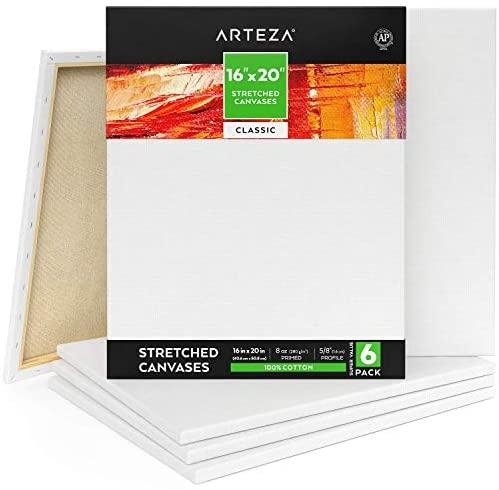 Arteza Lienzo para pintar cuadros  40,64 x 50,8 cm  Pack de 6  100% algodón  Lienzos en blanco para óleo, acrílicos y acuarelas  para artistas profesionales, aficionados y principiantes