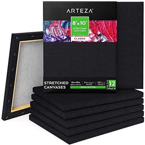 ARTEZA Lienzos negros estirados  Tamaño 20,3 x 25,4 cm  Pack de 12  100% algodón  Lienzos pretensados e imprimados sin ácidos  Ideales para pintar con acrílicos, óleo, témperas y medios húmedos