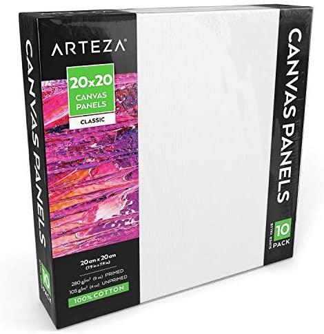Arteza Paneles de lienzo para pintar cuadros  20×20 cm  Pack de 10  100% algodón  Imprimación sin ácidos  Lienzos de pintura para profesionales, aficionados y principiantes