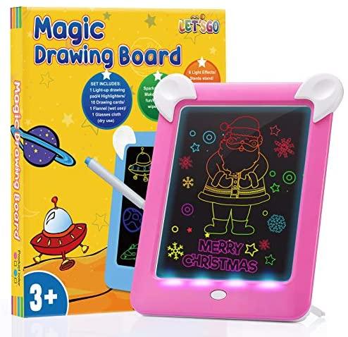 ATOPDREAM Tableta de Dibujo Pizarra 3D Mágico con Luces LED Educativo Infantil Dibujo Pizarra 8 Colores Luminosos – Juguetes de Regalo para Niños
