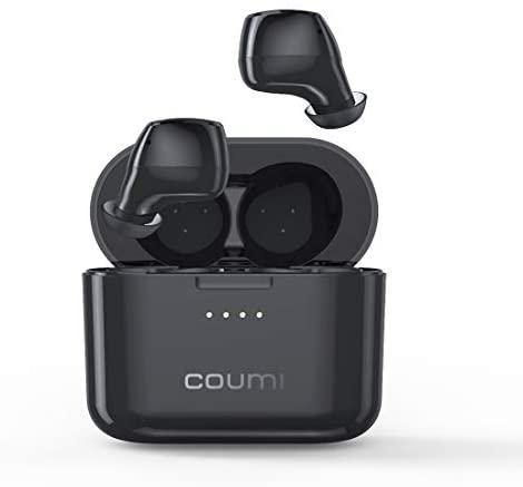 Auriculares Bluetooth, COUMI Auriculares Inalámbricos Bluetooth 5.0 Graves Mejorados, Deportivos IPX7 Impermeable, Micrófono Incorporado, Control Táctil, Reproducción de 24 Horas