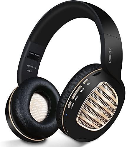 Auriculares Bluetooth Riwbox WB5 Bluetooth 5.0, inalámbricos, plegables, con micrófono, suaves almohadillas de proteínas de memoria, auriculares inalámbricos y con cable para PC (negro dorado)