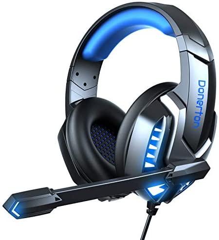Auriculares Gaming, Cascos Gaming PS4 Auriculares Estéreo Avanzados con Microfono, Cancelación de Ruido Auriculares para Juegos, Luz LED y Orejeras Giratorias de 120°, Compatibles con PS5/Xbox One/PC