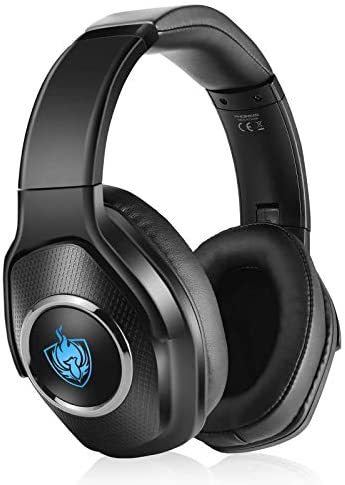 Auriculares PS4, Auriculares para Juegos con Cable para Xbox One, PC, Auriculares Inalámbricos Bluetooth Plegables de Baja Latencia con Sonido Envolvente 7.1, Luz RGB – Plateado