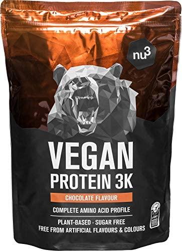 Batidos de proteínas veganas – Proteína vegetal 3K en polvo – de 3 componentes vegetales (guisante, girasol & arroz) – 1 Kg sabor chocolate – Para crecimiento y mantenimiento de masa muscular – de nu3