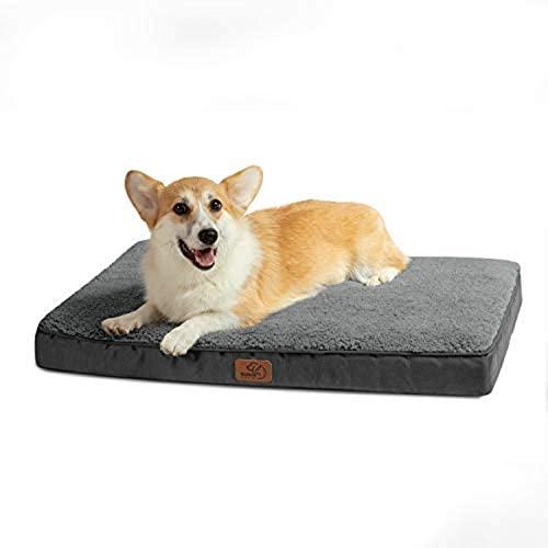 Bedsure Cama Perro Pequeño Ortopédica – Colchón Perro Verano Lavable M, Desenfundable con Espuma De Caja De Huevos, 76x50x7.6 cm