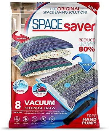 Bolsas de almacenamiento de vacío Spacesaver Premium. ¡80% más de almacenamiento! ¡Bomba manual para viajar! Doble-Zip Seal y Triple Seal Turbo-Valve para un ahorro máximo de espacio. (Variety 8 pack)