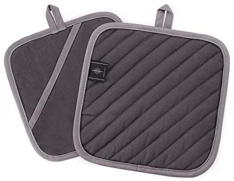 BONTHEE 20 x 20 cm, almohadillas calientes lavables para cocinar y hornear (gris)