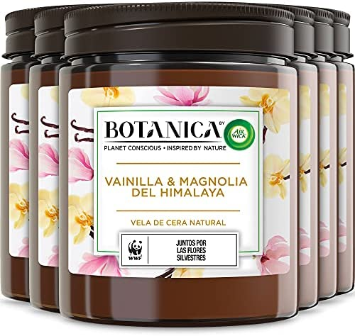 Botanica de Air Wick – Vela Aromática Perfumada Decorativa, Ambientador esencia para casa con aroma a Vainilla y Magnolia del Himalaya, con ingredientes naturales, Pack de 6