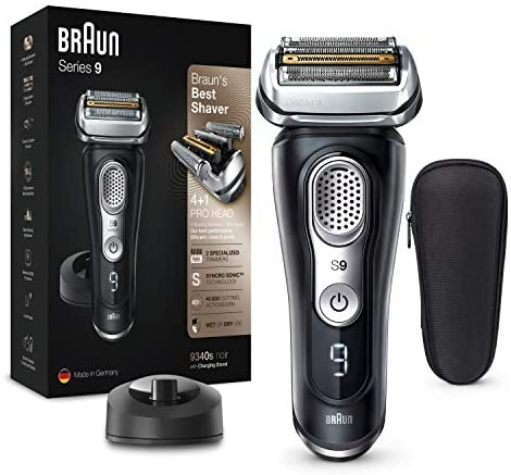 Braun Series 9 9340s – Afeitadora Eléctrica Hombre Última Generación, Afeitadora Barba Recargable, Inalámbrica, Base de Carga, Funda, Seco/Mojado, Negro