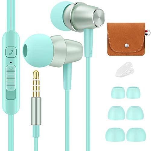 Bulees Auriculares, estéreo de Alta fidelidad, Graves Profundos, Bonitos Auriculares pequeños con micrófono y Control de Volumen para teléfonos Inteligentes, MP3/4 (Azul)