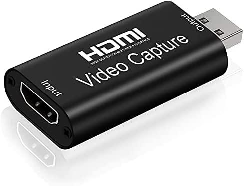 Capturadora De Video HDMI a USB 2.0, Tihokile 1080P Tarjeta de Adquisición de Juegos para Videocámaras/DSLR/Ordenador/Teléfonos Móviles/Set-Top Box/PS4