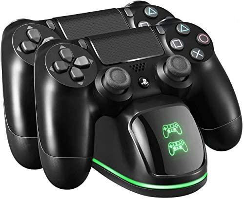 Cargador Mando PS4, Soporte Mando ps4 USB con LED Indicador, Estación de Carga ps4, Compatible con Playstation4, PS4, PS4 Pro, PS4 Slim (Cable80CM)