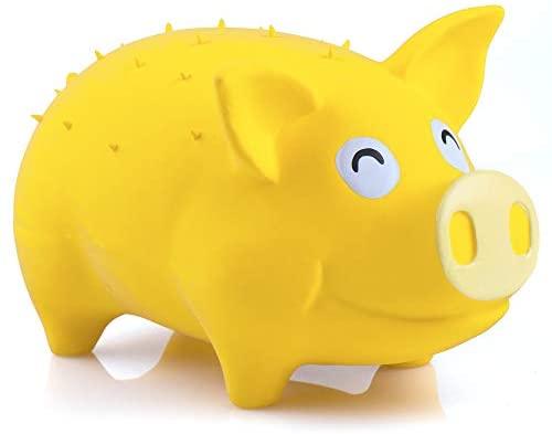 Chiwava 7,4 Pulgadas Juguete Grande de Cerdo para Perros Sonido de gruñido de apretón de Goma de látex Juego Interactivo Color Amarillo