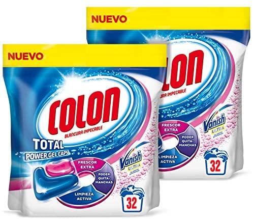 Colon Total Power Gel Caps Vanish Detergente para lavadora con Quitamanchas, formato Cápsulas – Pack de 2 – Hasta 64 dosis
