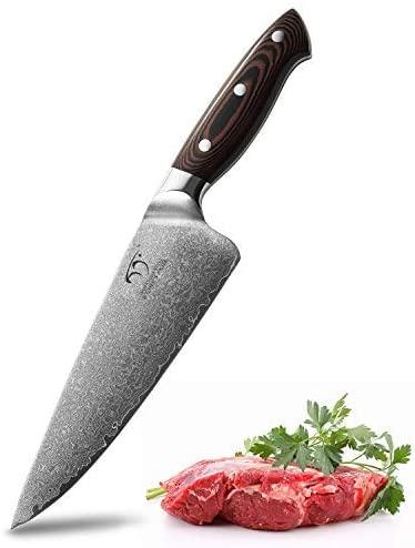 Cuchillo de Cocina Profesional – Cuchillo de Acero de Damasco VG-10 de 67 capas, Cuchillo de Cocina Ultrafilado (8´´ Cuchillo de Chef de Acero)