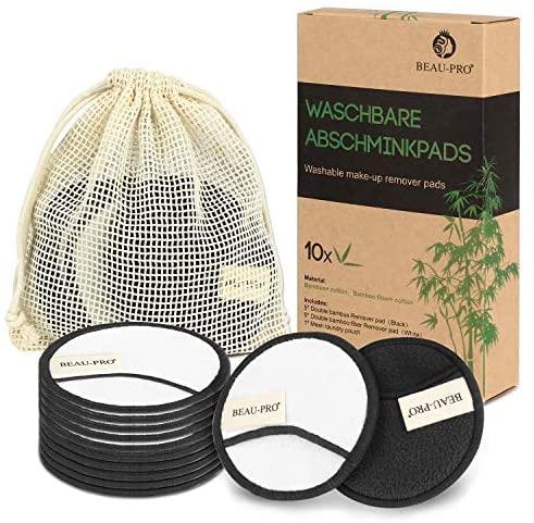 Discos Desmaquillantes Reutilizables Algodones Desmaquillante Reutilizable de Carbón de Bambú y Fibra de Bambú,Almohadillas Desmaquillantes Lavable para Todas las Pieles,10 Piezas con Bolsa de Lavado