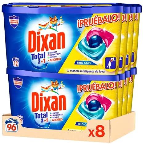 Dixan Detergente en Cápsulas para Lavadora Trio Caps Universal – Pack de 8x12D, Total 96 Lavados