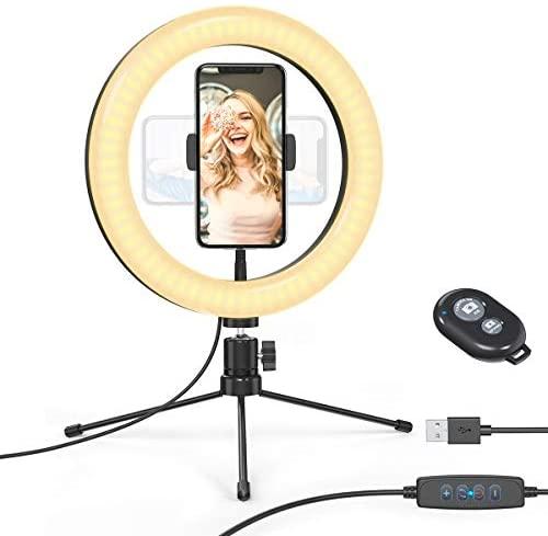 """dodocool Luz de Anillo LED, 10.2"""" Aro de Luz, Trípode con Soporte de Móvil, 3 Modos de Luz, 10 Niveles de Brillo Regulable, Anillo de Luz para Youtube, Maquillaje, Selfie, TIK Tok, etc"""