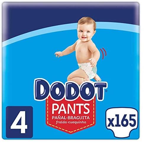 Dodot Pañales Bebé Pants Talla 4 (9-15 kg), 165 Pañales, Pañal-Braguita con Ajuste 360° Anti-Fugas