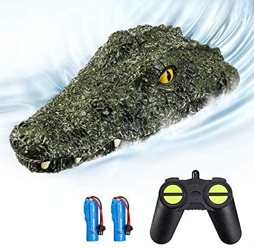 EACHINE EB01 RC Juguetes Barco de Control Remoto Teledirigido Alta Velocidad 2.4G 15km/h 30 mins Simulación Crocodile Adultos(2 Baterías)