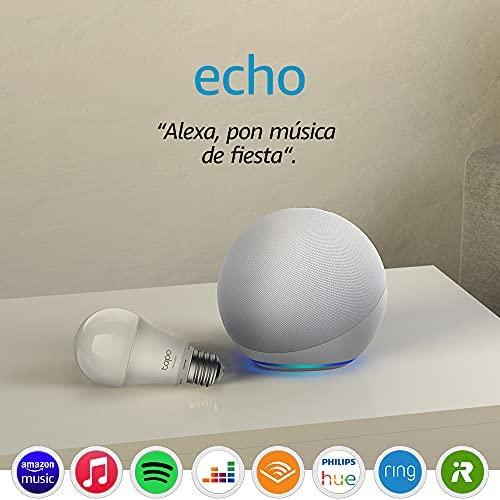 Echo (4.ª generación), Blanco + TP-Link Tapo Bombilla Inteligente (E27), compatible con Alexa