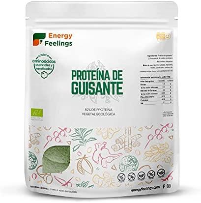 Energy Feelings Proteína de Guisante Ecológica  82% Proteína Orgánica en Polvo Sin Sabor Añadido  Proteína Vegana  Sin Gluten  Sin Lactosa  Sin Azúcar Añadido  1kg