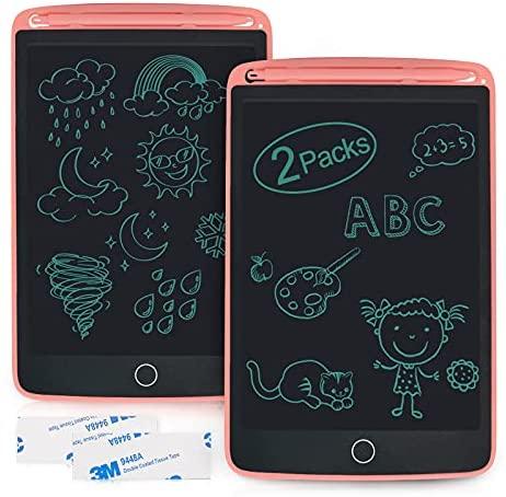 Enotepad Tablero de Escritura LCD Paquete de 2, Tablero de Dibujo de 8.5 Pulgadas con 4 Imanes, Bloc de Notas Borrable, Bloc de Notas Portátil Electrónico para Tableta para Niños(Rosa+Rosa)