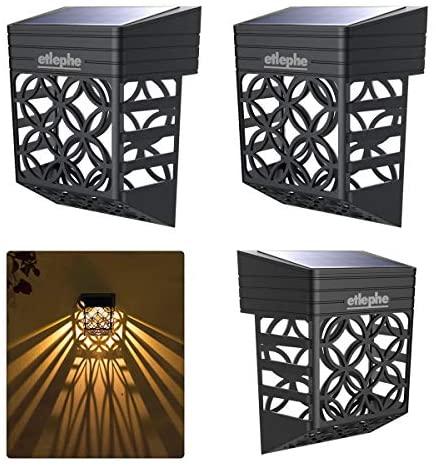 Etlephe Luz Solar Exterior, 4 Unidades LED Iluminacion Exterior Solar Impermeable con Sensor de Luz Tenue Encendido/Apagadp Automático para Jardin, Patio