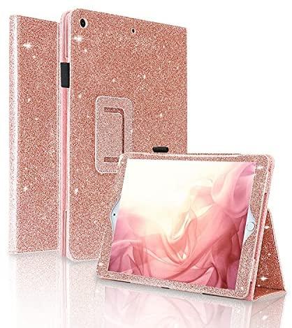 FANSONG Funda para iPad 10,2 2019, Carcasa Cuero PU Purpurina Magnetica con Función de Soporte y Auto-Sueño/Estela para Apple iPad 7ª Generación(Oro Rosa)