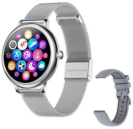 Fitonme Reloj Fitness Tracker – IP67 Impermeable Salud Seportes Smartwatch con Frecuencia Cardíaca, Presión Arterial, Sueño, Contador de Calorías, Podómetro, Recordatorio SMS iOS Android (Oro)