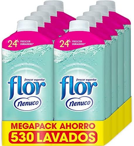 Flor – Suavizante para la ropa concentrado, aroma nenuco, hipoalergénico – Pack de 10, hasta 530 dosis
