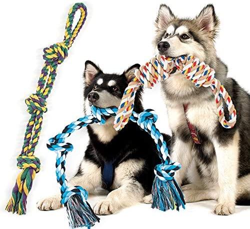 FONPOO Juguetes para Perros Grandes,Diseñado para un Perro Resistentes y Fuerte El Juego Aburrido Juguetes para Perros De 3 Piezas 30 Pulgadas De Largo y Pesa 4 Libras
