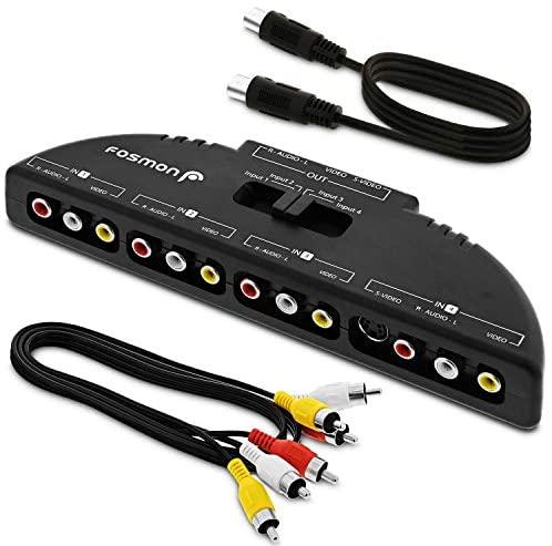 Fosmon Selector de conmutador RCA/Audio/Video de 4 vías y Caja de división y Cable de conexión AV para conectar 4 Dispositivos de Salida RCA a su televisor