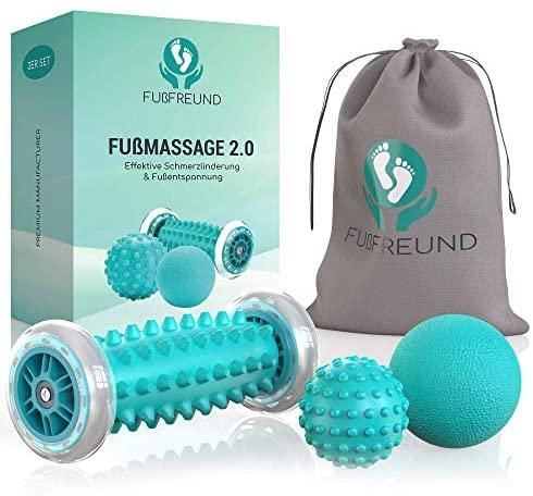 FUßFREUND© Masajeador de pies premium – Concepto Mejorado 2020 I Innovador rodillo de masaje de pies para reducir el estrés I Pelota erizo para masaje de pies I Masaje y relajación I Juego de 3