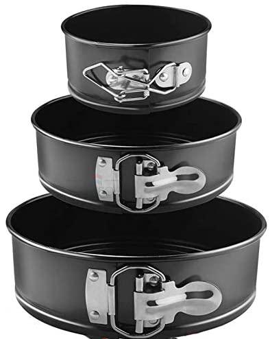 GreaTool Molde de Horno Desmontable, Molde deBizcocho, 3 Piezas Molde Negro Redondo Tarta Desmontable Moldes para Pasteles (3 Piezas Redondo)