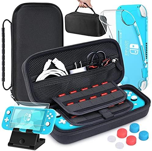 HEYSTOP Funda para Nintendo Switch Lite, Estuche Switch Lite + Protector de Pantalla + Funda Tarjeta de Juegos + 6 Tapas de Agarre para el Pulgar