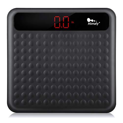 Himaly Báscula de baño Antideslizante, Digital de Alta Medición Precisa 180kg / 400lbs, Pantalla LCD digital de gran área, (Negro) (Tipo 1)