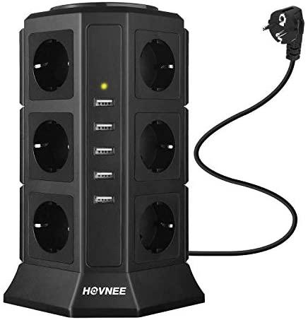 HOVNEE Regleta Vertical Enchufes de 12 Tomas Corrientes y 5 Rápida USB Tomas, Alargadora Cable de 2m con Protección y Interruptor, Base Múltiple, Tapón de Seguridad, 2500W/10A (17-EN-1)