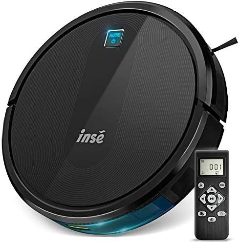 INSE Robot Aspirador E6 Aspirador Robotico con Succión de 2000 Pa,Superfino,Silencioso, Carga automática, 110 Minutos Runtime para Suelos Duros, Alfombras y Pelo de Mascotas (Negro)